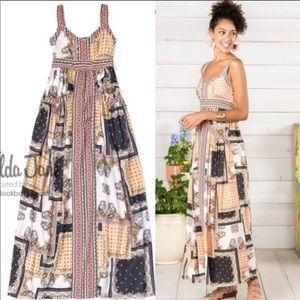 Matilda Jane patchwork maxi dress large EUC